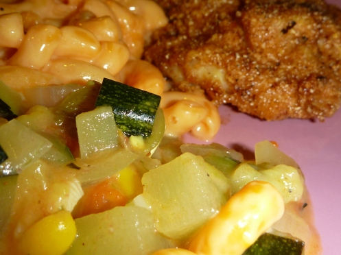 catfish calabacitas zucchini macaroni